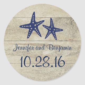 Rustic Driftwood Nautical Beach Navy Starfish Classic Round Sticker