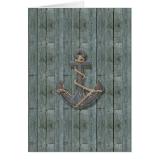 Rustic driftwood Teal Beach Wood nautical anchor Card