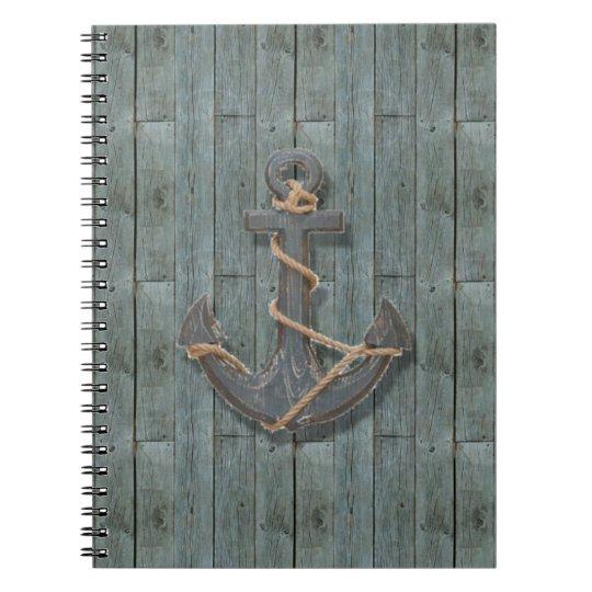 Rustic driftwood Teal Beach Wood nautical anchor Notebooks