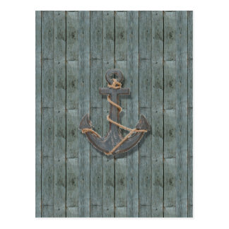 Rustic driftwood Teal Beach Wood nautical anchor Postcard