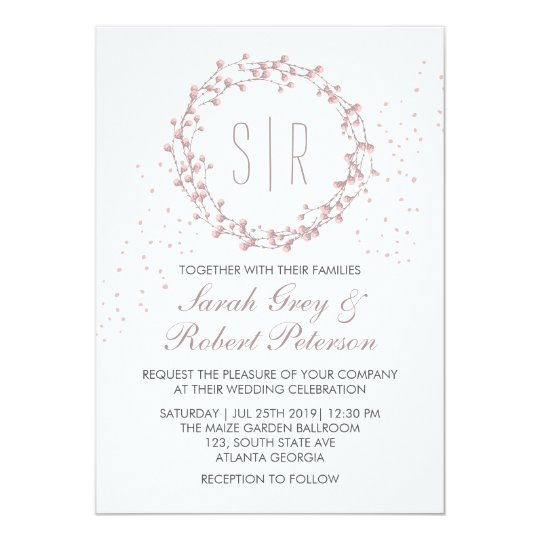 Rustic Dusty Pink Floral Wreath Wedding Invitation