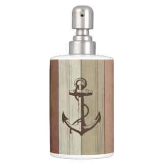 Rustic Earth Tone Wood Nautical Stripes & Anchor Soap Dispenser And Toothbrush Holder