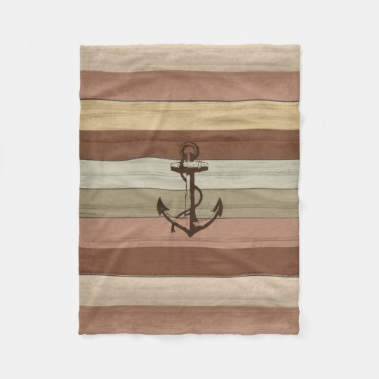 Rustic Earth Tones Wood Nautical Stripes & Anchor