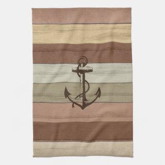 Rustic Earth Tones Wood Nautical Stripes & Anchor Tea Towel