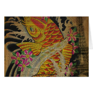 rustic eiffel tower japanese tattoo koi fish greeting card