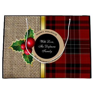Rustic Elegance Burlap & Plaid Christmas Large Gift Bag