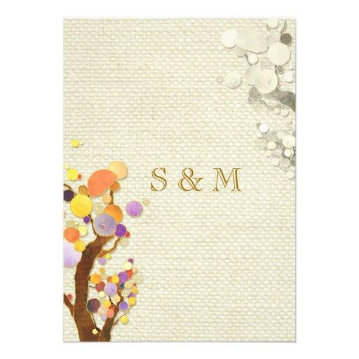 Rustic Elegance Burlap Trees Monogrammed Wedding Custom Invite