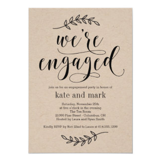 Rustic Elegance Engagement Party Invitation Kraft