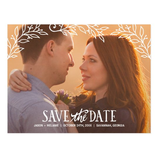 Rustic Elegance | Floral Photo Save the Date