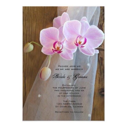 Rustic Elegance Orchids Country Wedding 13 Cm X 18 Cm Invitation Card