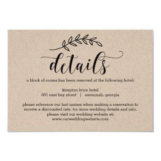 Rustic Elegance Wedding Details Card Kraft