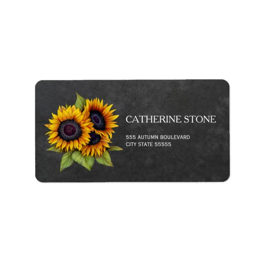 Rustic elegant chalkboard sunflowers address address label