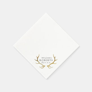 Rustic & Elegant Gold Antler | Custom Name Wedding Disposable Napkin