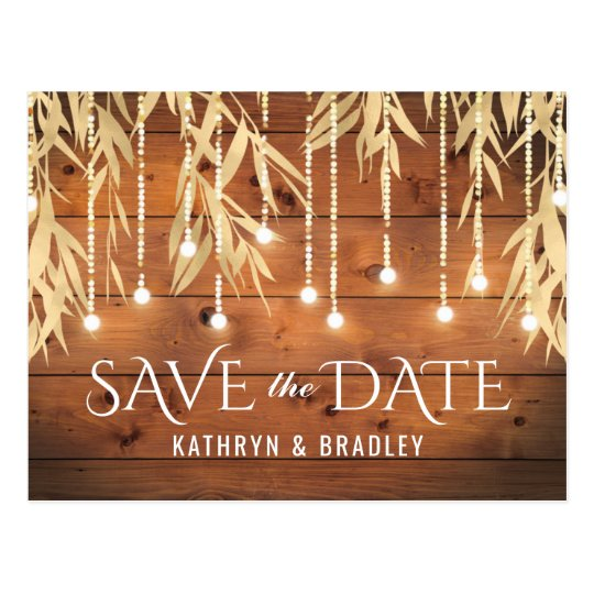 Rustic Elegant Gold Willow Tree Save the Date