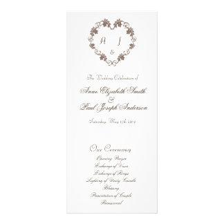 Rustic Elegant Heart monogram wedding program Rack Card