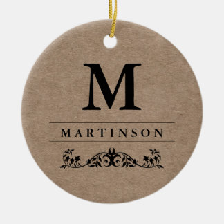 Rustic Elegant Kraft Paper Monogram with Flourish Christmas Ornament