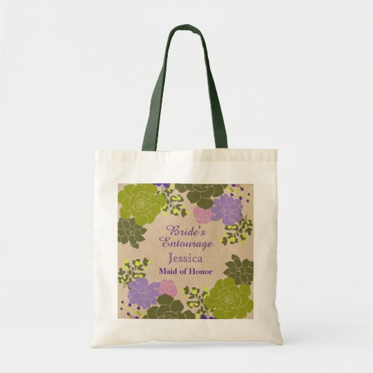 Rustic Elegant Succulent Floral Bride's Entourage Tote Bag