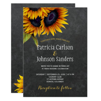 Rustic elegant sunflower chalkboard wedding card