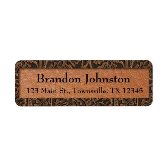 Rustic Embossed Leather Return Address Label