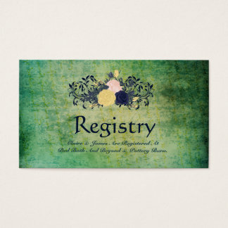 Rustic Emerald Floral Wedding Registry Card