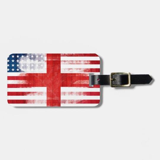 Rustic English American Flag Luggage Tag