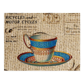 Rustic english country tea party blue teacup postcard