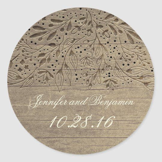 Rustic Engraved Flowers Wood Wedding Classic Round Sticker