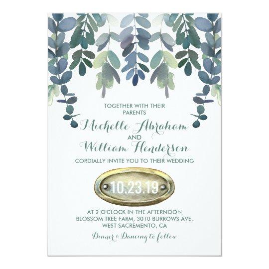 Rustic Eucalyptus Wedding Suite Invite | Greenery