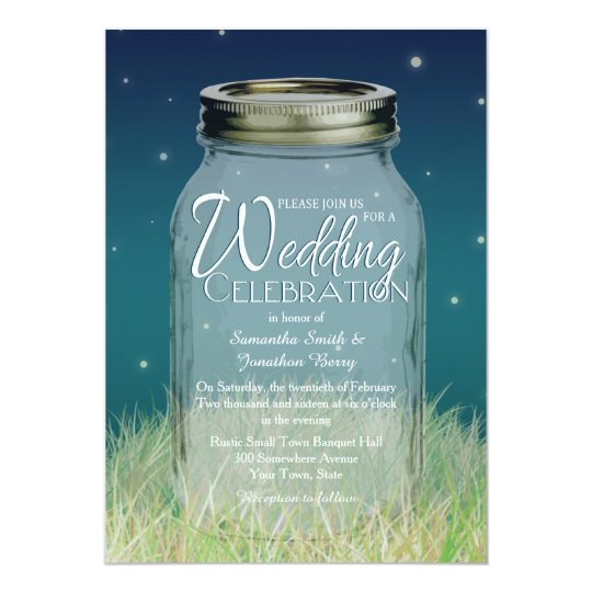 Rustic Evening Mason Jar Wedding Invitation