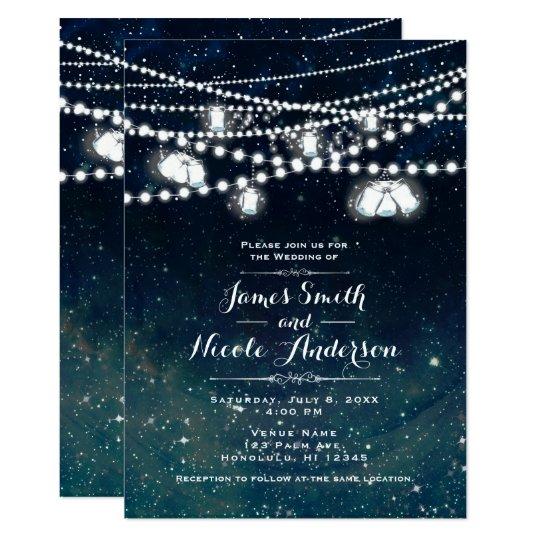 Rustic Evening Night Sky Mason Jar Lights Wedding
