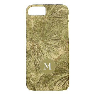 rustic evergreen branches camouflage with monogram iPhone 8/7 case