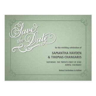 Rustic Fade Green Save the Date Postcard