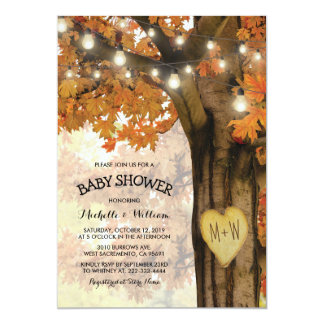 Rustic Fall Autumn Tree Backyard Baby Shower Card