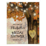 Rustic Fall Autumn Tree Lights Bridal Shower Poster