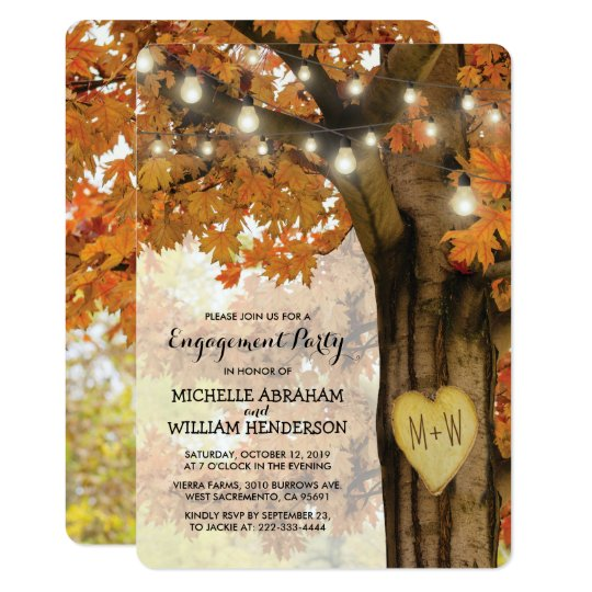 Rustic Fall Autumn Tree Lights Engagement Party Card