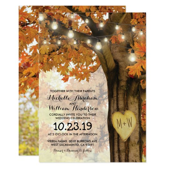 Rustic Fall Autumn Tree Twinkle Lights Wedding Card