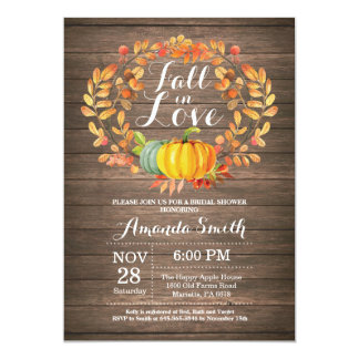 Rustic Fall Bridal Shower Invitation Card