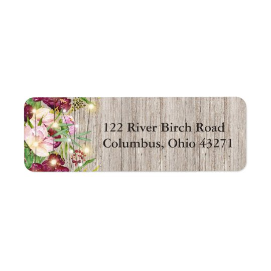 Rustic Fall Burgundy Flowers Return Address