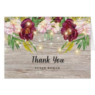Rustic Fall Burgundy Flowers Thank you Card