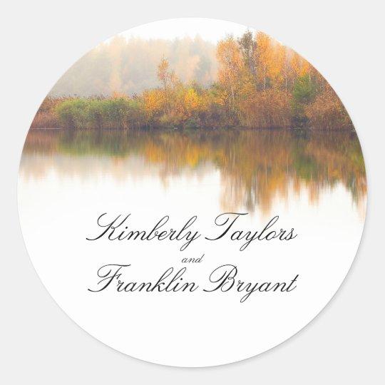 Rustic Fall Elegant Colourful Trees Wedding Classic Round Sticker