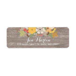 Rustic fall flowers Bridal Shower Return Address Label