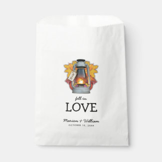 Rustic Fall in Love Autumn Leaves Wedding Favour Bags