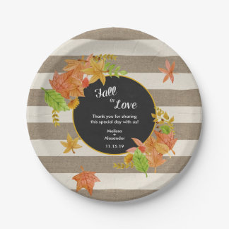 Rustic Fall in Love Bridal Shower or wedding decor Paper Plate