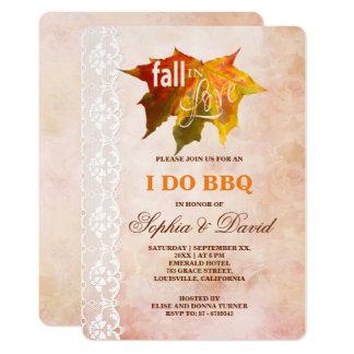 Rustic Fall in Love Lace I DO BBQ Invitation