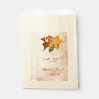 Rustic Fall in Love Lace THANK YOU Wedding Favour Bags