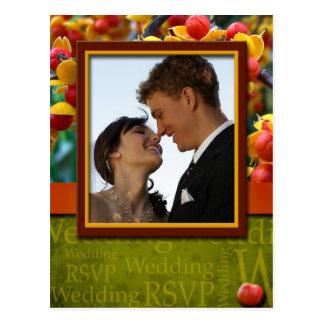 Rustic Fall In Love Wedding RSVP Photo Postcard