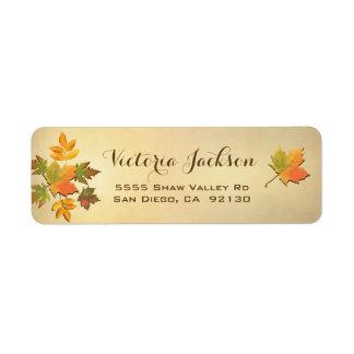 Rustic Fall leaves address label