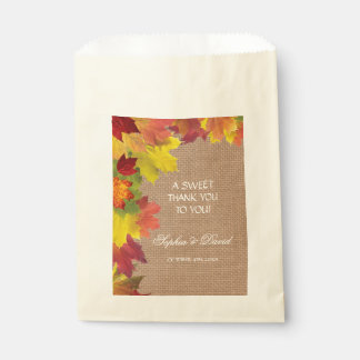 Rustic Fall Leaves Burlap THANK YOU Wedding Favour Bags