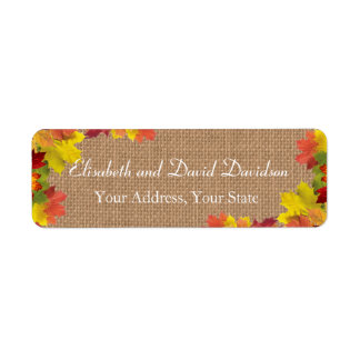 Rustic Fall Leaves Burlap Wedding Custom Return Address Label