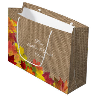 Rustic Fall Leaves Burlap Wedding Large Gift Bag